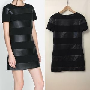 Zara Black Faux Leather Striped Shift Dress